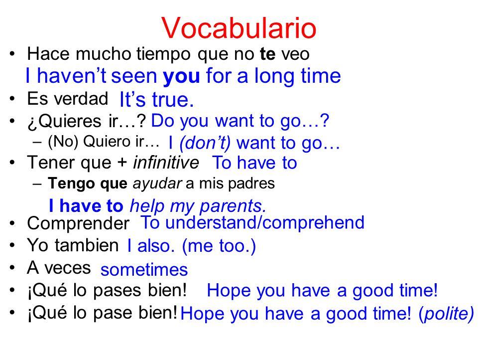 Vocabulario Hace mucho tiempo que no te veo Es verdad ¿Quieres ir…? –(No) Quiero ir… Tener que + infinitive –Tengo que ayudar a mis padres Comprender