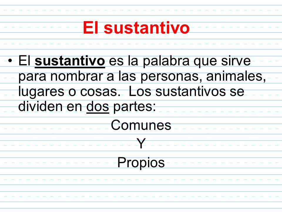 El sustantivo El sustantivo es la palabra que sirve para nombrar a las personas, animales, lugares o cosas. Los sustantivos se dividen en dos partes: