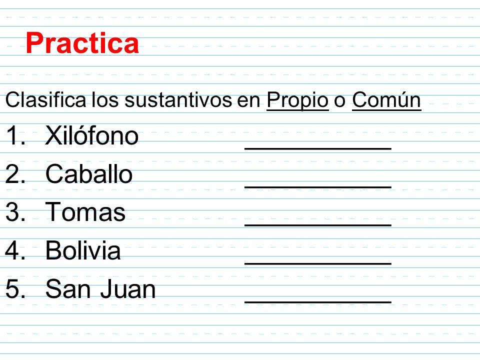 Practica Clasifica los sustantivos en Propio o Común 1.Xilófono__________ 2.Caballo__________ 3.Tomas__________ 4.Bolivia__________ 5.San Juan________