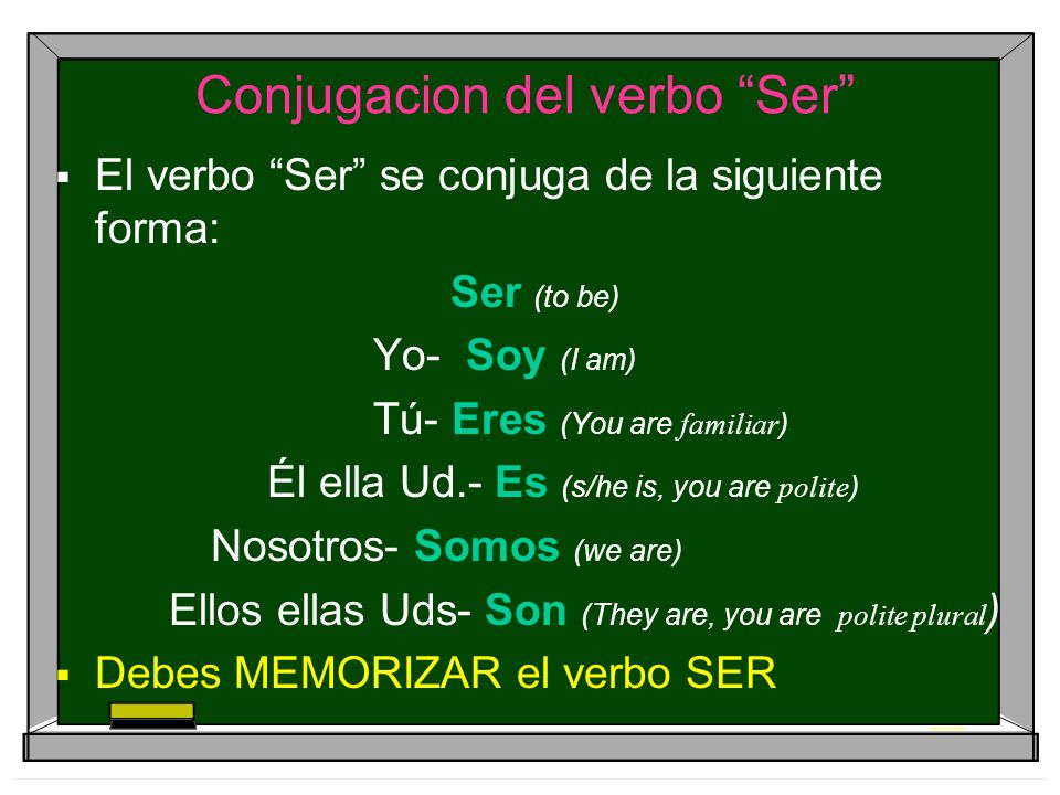 Conjugacion del verbo Ser El verbo Ser se conjuga de la siguiente forma: Ser (to be) Yo- Soy (I am) Tú- Eres (You are familiar ) Él ella Ud.- Es (s/he is, you are polite ) Nosotros- Somos (we are) Ellos ellas Uds- Son (They are, you are polite plural ) Debes MEMORIZAR el verbo SER