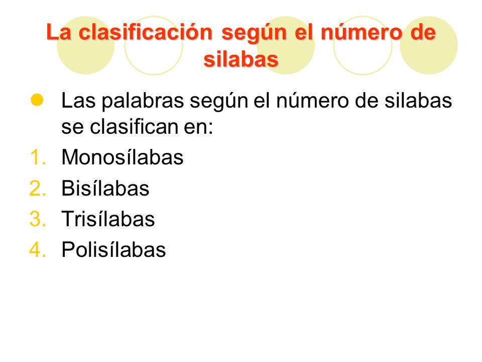 Monosílabas Las monosílabas son aquellas palabras que tienen una sola silaba.
