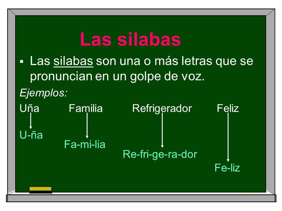 Las silabas Las silabas son una o más letras que se pronuncian en un golpe de voz. Ejemplos: Uña FamiliaRefrigeradorFeliz U-ña Fa-mi-lia Re-fri-ge-ra-