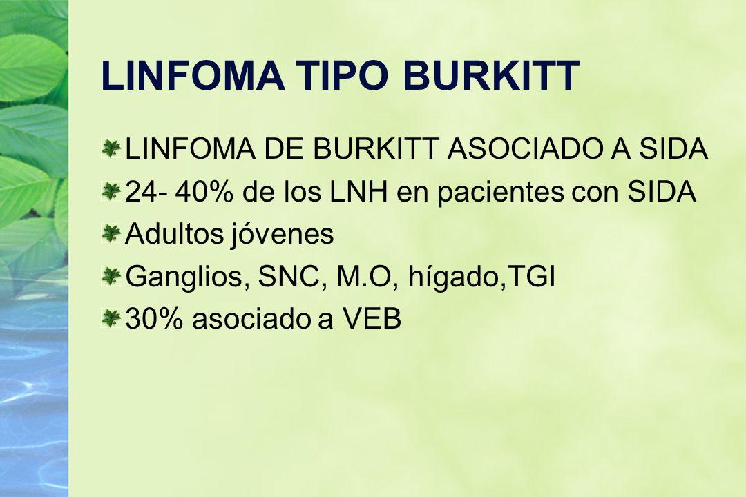 LINFOMA TIPO BURKITT LINFOMA DE BURKITT ASOCIADO A SIDA 24- 40% de los LNH en pacientes con SIDA Adultos jóvenes Ganglios, SNC, M.O, hígado,TGI 30% as