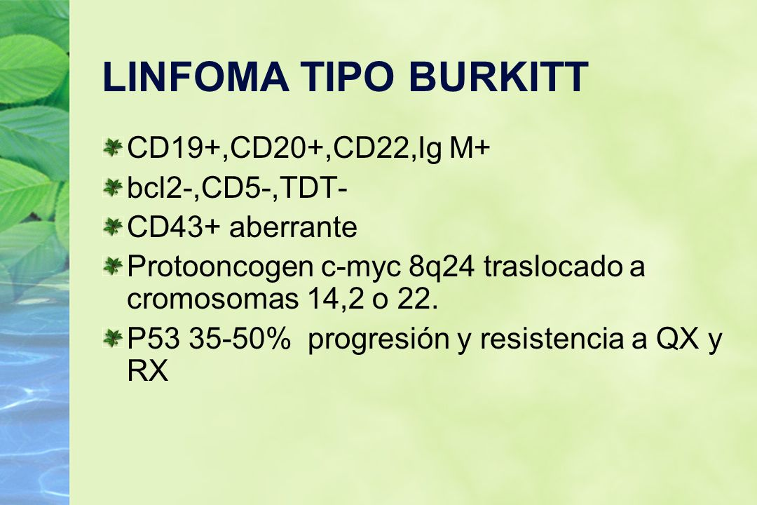 LINFOMA TIPO BURKITT CD19+,CD20+,CD22,Ig M+ bcl2-,CD5-,TDT- CD43+ aberrante Protooncogen c-myc 8q24 traslocado a cromosomas 14,2 o 22. P53 35-50% prog