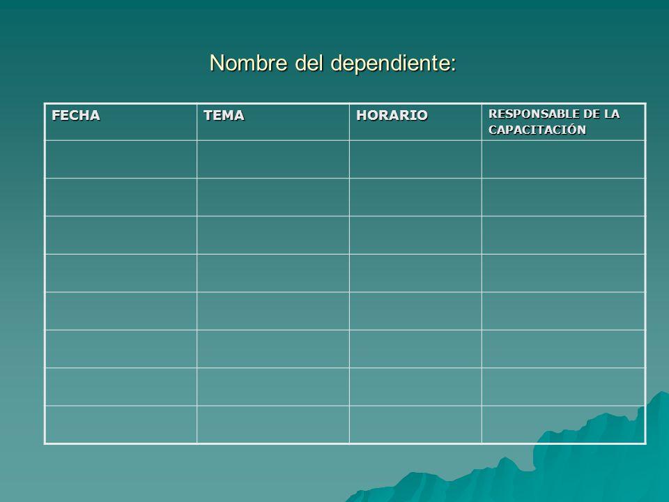 Nombre del dependiente: FECHATEMAHORARIO RESPONSABLE DE LA CAPACITACIÓN