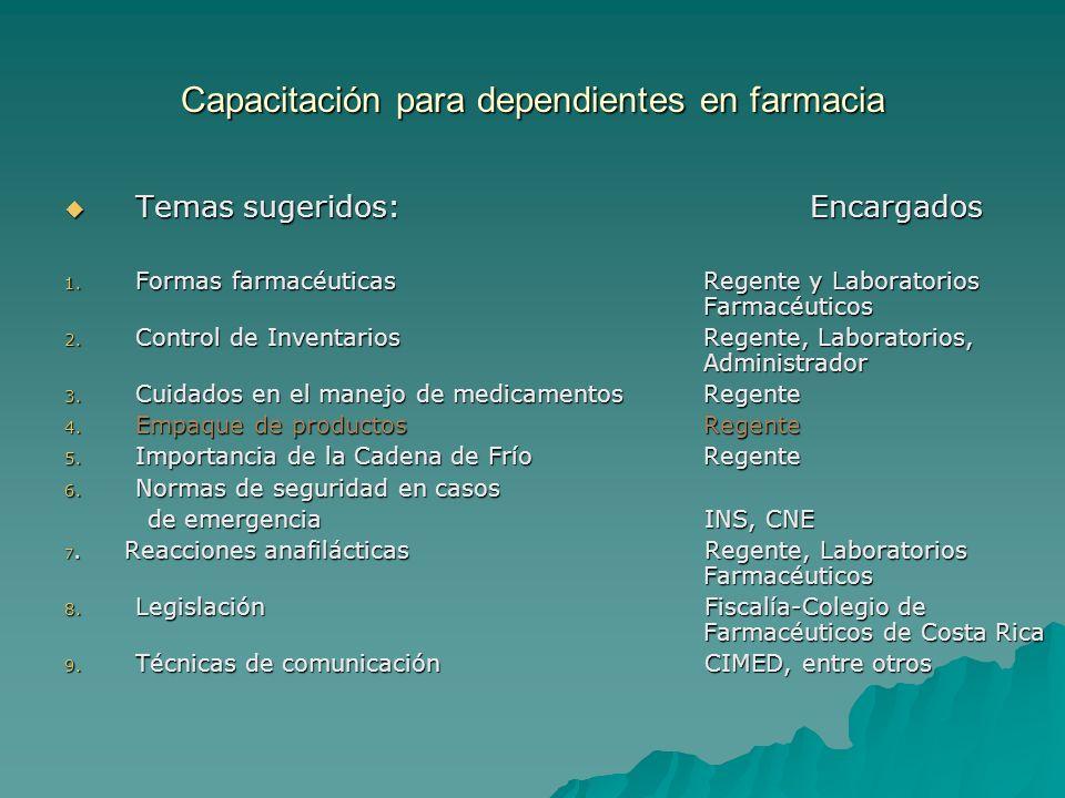 Capacitación para dependientes en farmacia Temas sugeridos:Encargados Temas sugeridos:Encargados 1. Formas farmacéuticasRegente y Laboratorios Farmacé