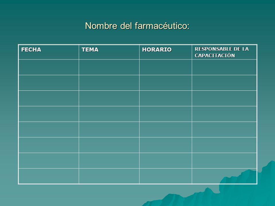 Nombre del farmacéutico: FECHATEMAHORARIO RESPONSABLE DE LA CAPACITACIÓN