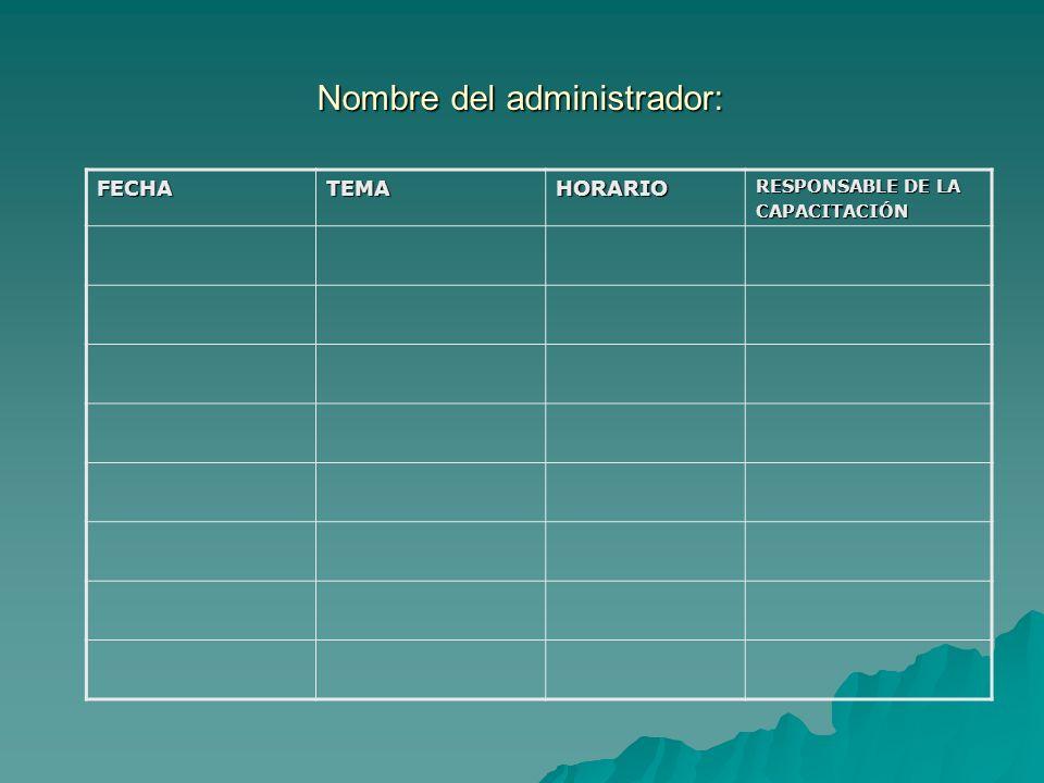 Nombre del administrador: FECHATEMAHORARIO RESPONSABLE DE LA CAPACITACIÓN
