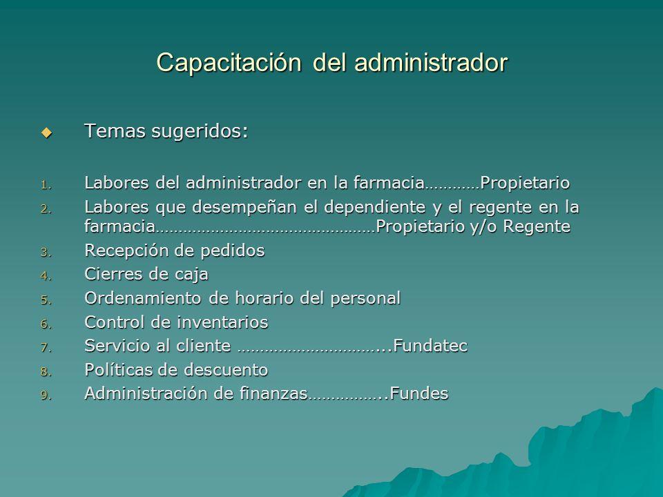 Capacitación del administrador Temas sugeridos: Temas sugeridos: 1. Labores del administrador en la farmacia…………Propietario 2. Labores que desempeñan