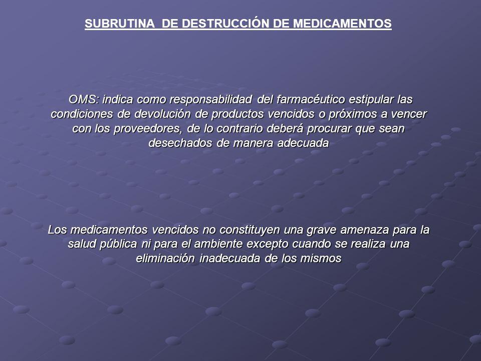 SUBRUTINA DE DESTRUCCIÓN DE MEDICAMENTOS OMS: indica como responsabilidad del farmacéutico estipular las condiciones de devolución de productos vencid