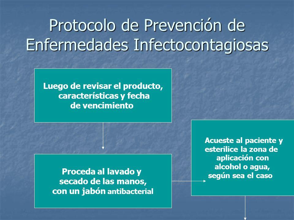 Protocolo de Prevención de Enfermedades Infectocontagiosas Luego de revisar el producto, características y fecha de vencimiento Proceda al lavado y se