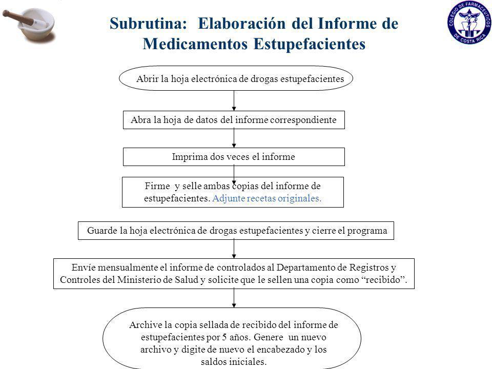 Subrutina: Elaboración del Informe de Medicamentos Estupefacientes Abrir la hoja electrónica de drogas estupefacientes Abra la hoja de datos del infor