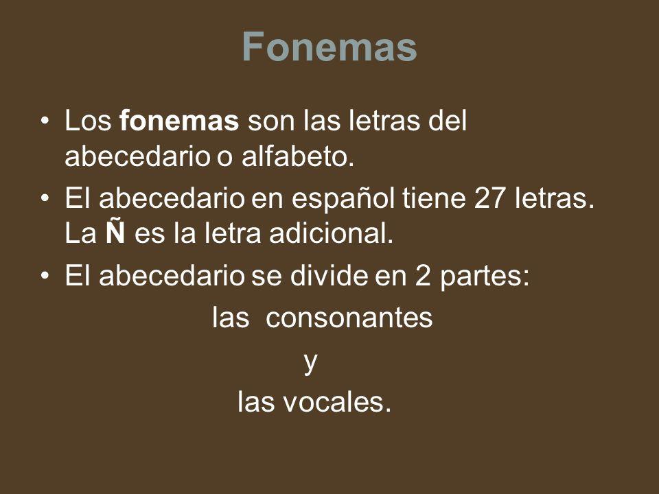 Fonemas Los fonemas son las letras del abecedario o alfabeto. El abecedario en español tiene 27 letras. La Ñ es la letra adicional. El abecedario se d