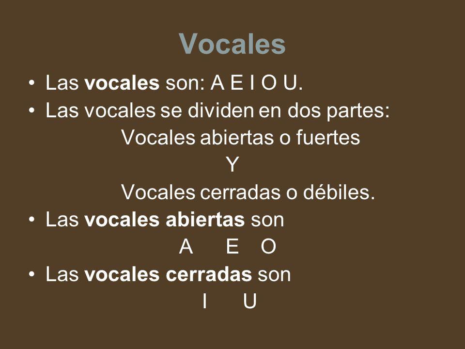 Vocales Las vocales son: A E I O U. Las vocales se dividen en dos partes: Vocales abiertas o fuertes Y Vocales cerradas o débiles. Las vocales abierta