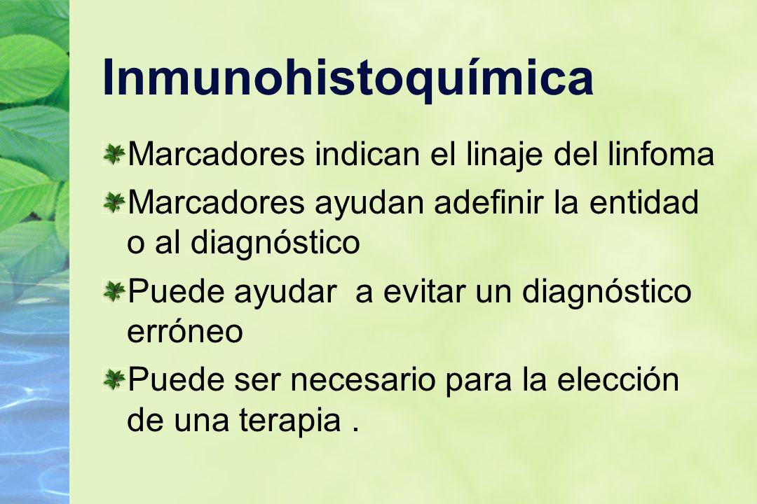Inmunohistoquímica Marcadores indican el linaje del linfoma Marcadores ayudan adefinir la entidad o al diagnóstico Puede ayudar a evitar un diagnóstic
