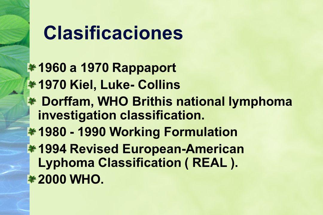 Clasificaciones 1960 a 1970 Rappaport 1970 Kiel, Luke- Collins Dorffam, WHO Brithis national lymphoma investigation classification. 1980 - 1990 Workin