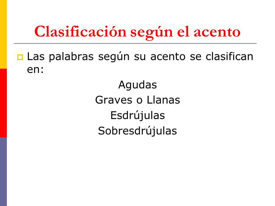 Clasificación según el acento Las palabras según su acento se clasifican en: Agudas Graves o Llanas Esdrújulas Sobresdrújulas