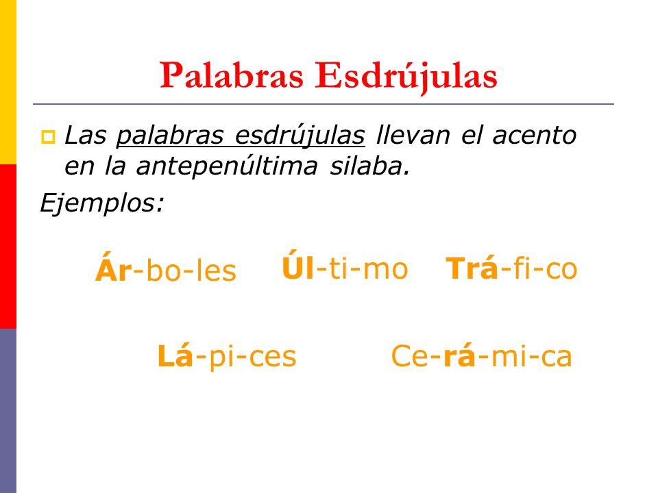 Palabras Esdrújulas Las palabras esdrújulas llevan el acento en la antepenúltima silaba.