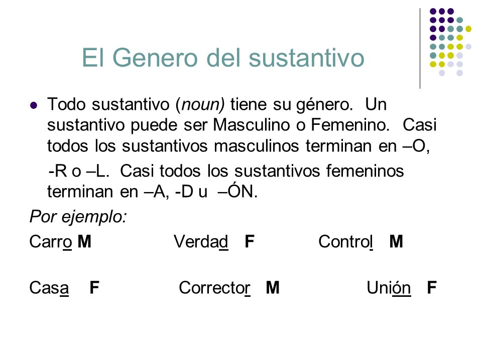 El Genero del sustantivo Todo sustantivo (noun) tiene su género. Un sustantivo puede ser Masculino o Femenino. Casi todos los sustantivos masculinos t
