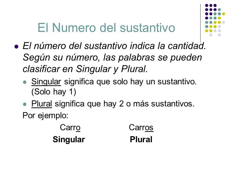 El Numero del sustantivo El número del sustantivo indica la cantidad. Según su número, las palabras se pueden clasificar en Singular y Plural. Singula