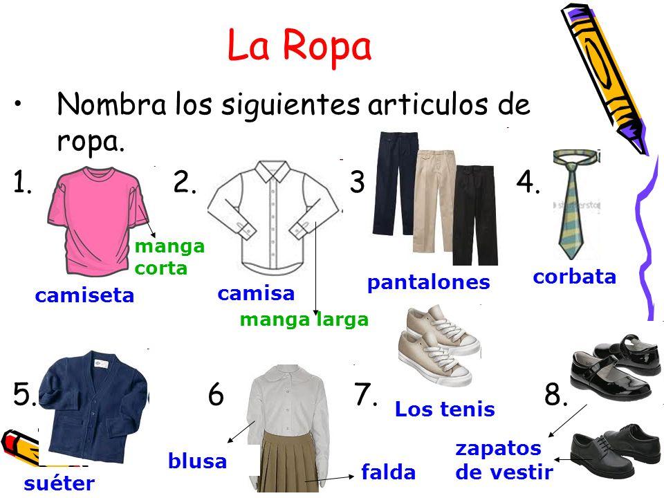 La Ropa Nombra los siguientes articulos de ropa. 1.