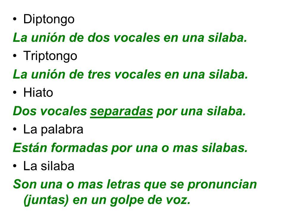 Diptongo La unión de dos vocales en una silaba. Triptongo La unión de tres vocales en una silaba. Hiato Dos vocales separadas por una silaba. La palab