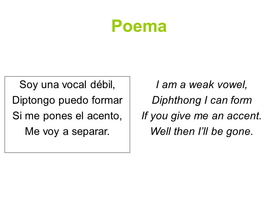 Poema Soy una vocal débil, Diptongo puedo formar Si me pones el acento, Me voy a separar. I am a weak vowel, Diphthong I can form If you give me an ac