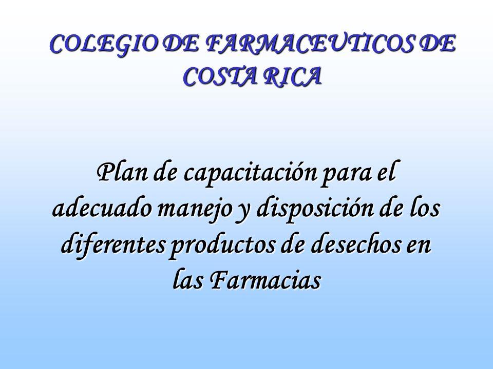 INICIO La farmacia debe cumplir con la normativa de disposición final de los productos de desecho establecida por el MS.