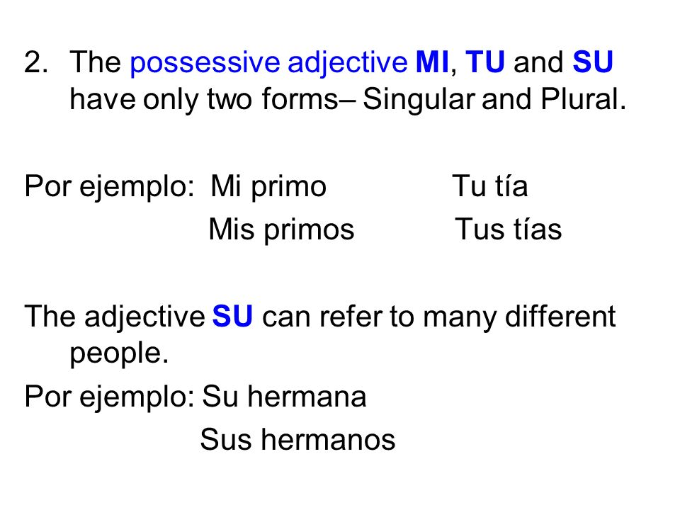 2.The possessive adjective MI, TU and SU have only two forms– Singular and Plural. Por ejemplo: Mi primo Tu tía Mis primos Tus tías The adjective SU c