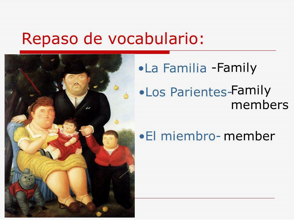 La familia La madre (la mamá) Mother (mom) El padre (el papá) - father - dad el hijo – son hermanos – daughter hermano/a brother/ sister la hija los padres parents siblings