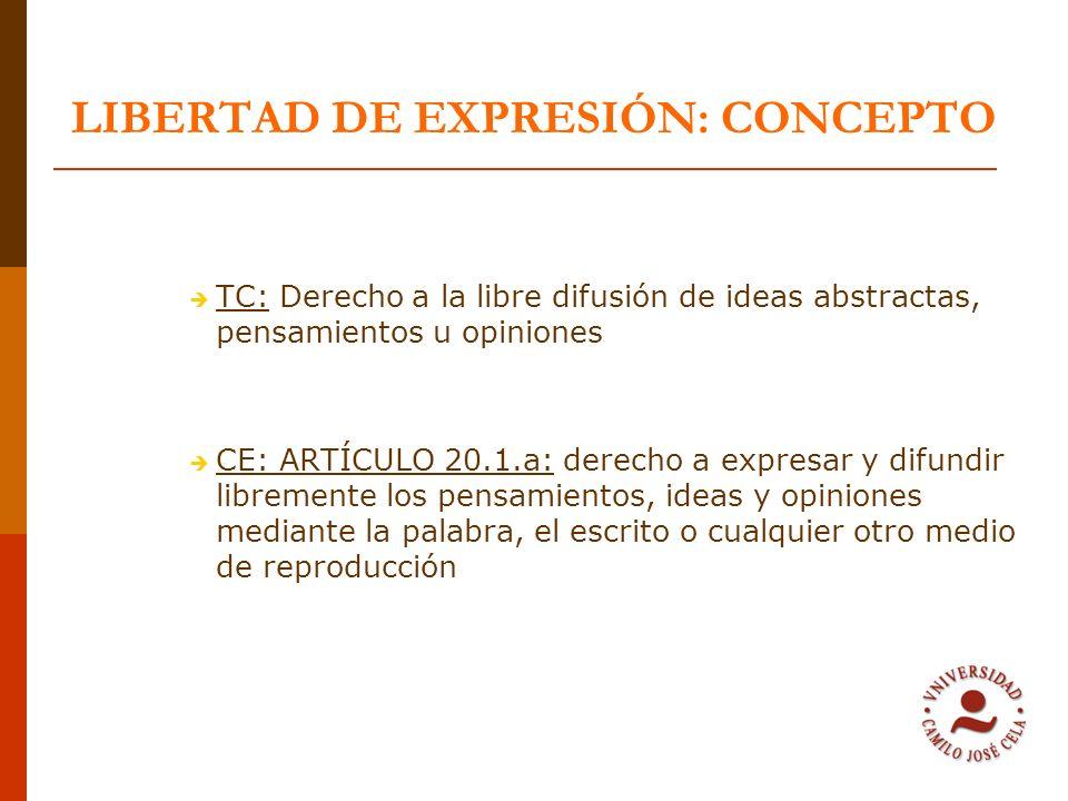 LIBERTAD DE EXPRESIÓN: CONCEPTO TC: Derecho a la libre difusión de ideas abstractas, pensamientos u opiniones CE: ARTÍCULO 20.1.a: derecho a expresar