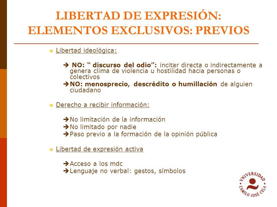 LIBERTAD DE EXPRESIÓN: LÍMITE: DEGRADACIÓN O INSULTO PRINCIPIOS JURÍDICOS BÁSICOS Libertad de expresión como derecho inalienable pero que puede afectar a los demás Derecho de los demás a ser respetados La libertad de expresión lleva consigo LA RESPONSABILIDAD Respetar los derechos de quienes pueden ser afectados CALIFICACIÓN JURÍDICA DE INSULTO O DEGRADACIÓN: Contenido de lo que decimos Forma en la que lo difundimos CRITERIO JURÍDICO: NECESIDAD O NO DE LA CRÍTICA No necesaria para argumentar la opinión No son de interés público Contexto y finalidad de la expresión: derecho a crítica