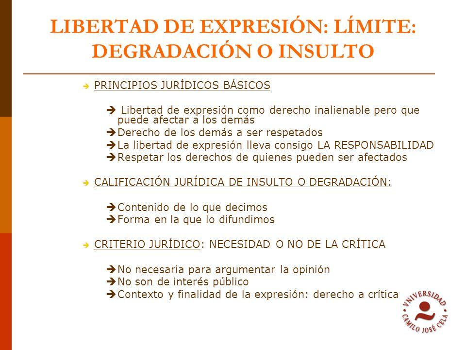 LIBERTAD DE EXPRESIÓN: LÍMITE: DEGRADACIÓN O INSULTO PRINCIPIOS JURÍDICOS BÁSICOS Libertad de expresión como derecho inalienable pero que puede afecta