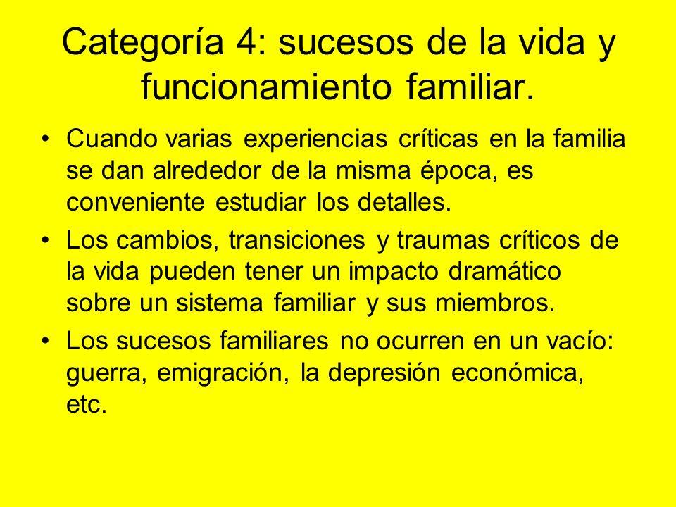 Categoría 4: sucesos de la vida y funcionamiento familiar. Cuando varias experiencias críticas en la familia se dan alrededor de la misma época, es co
