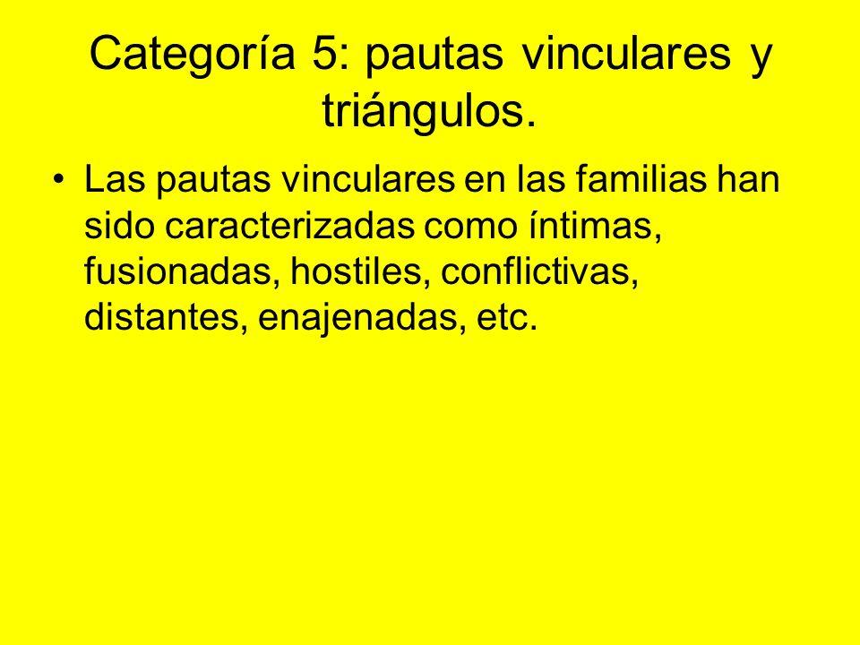 Categoría 5: pautas vinculares y triángulos. Las pautas vinculares en las familias han sido caracterizadas como íntimas, fusionadas, hostiles, conflic