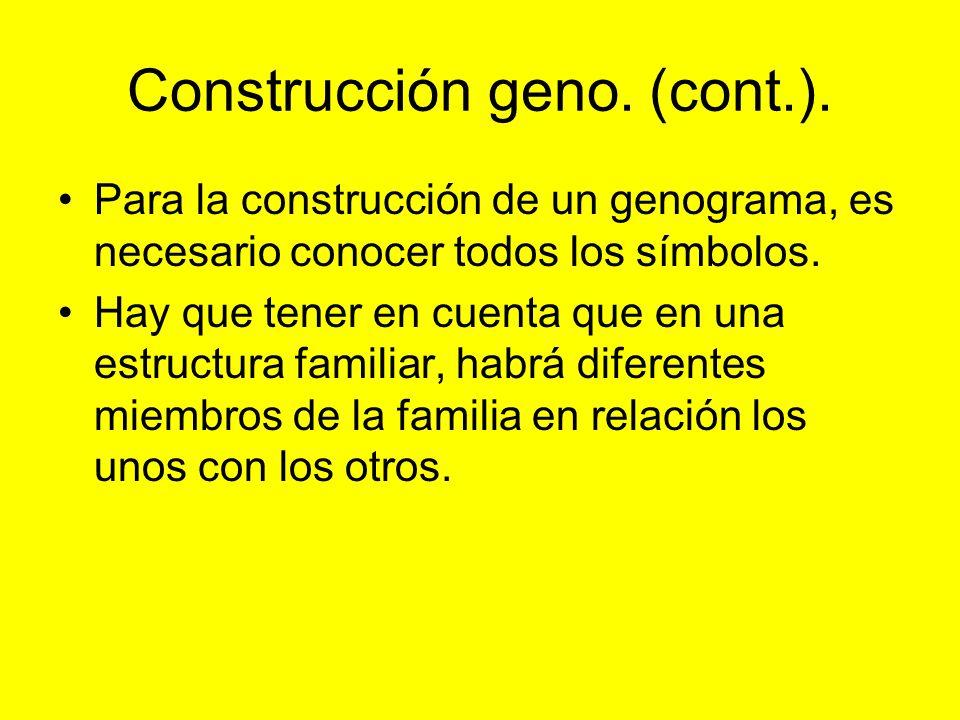 Construcción geno. (cont.). Para la construcción de un genograma, es necesario conocer todos los símbolos. Hay que tener en cuenta que en una estructu