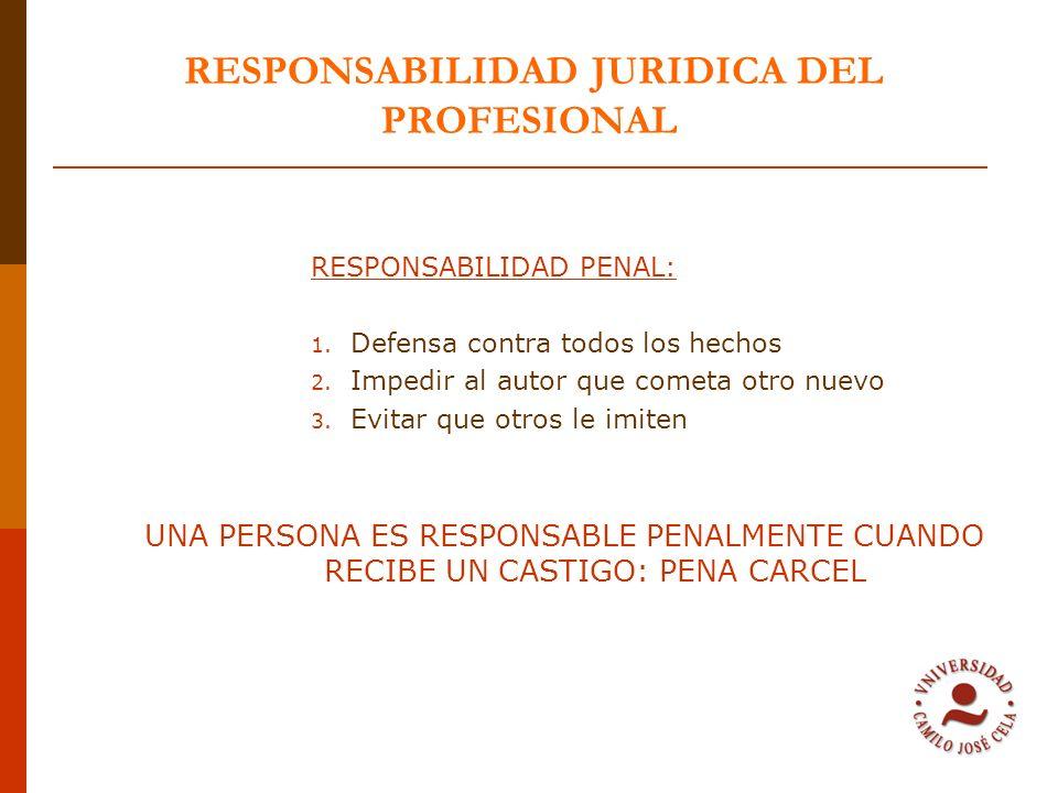 RESPONSABILIDAD JURIDICA DEL PROFESIONAL RESPONSABILIDAD PENAL: 1. Defensa contra todos los hechos 2. Impedir al autor que cometa otro nuevo 3. Evitar