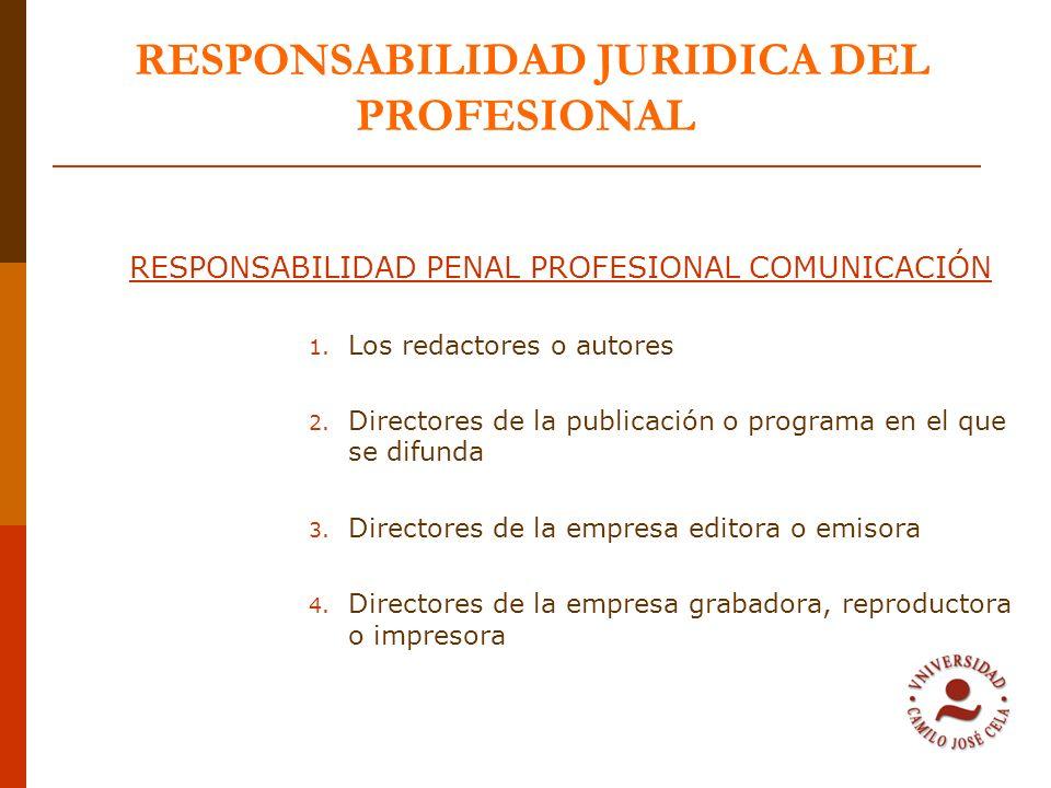 RESPONSABILIDAD JURIDICA DEL PROFESIONAL RESPONSABILIDAD PENAL PROFESIONAL COMUNICACIÓN 1. Los redactores o autores 2. Directores de la publicación o