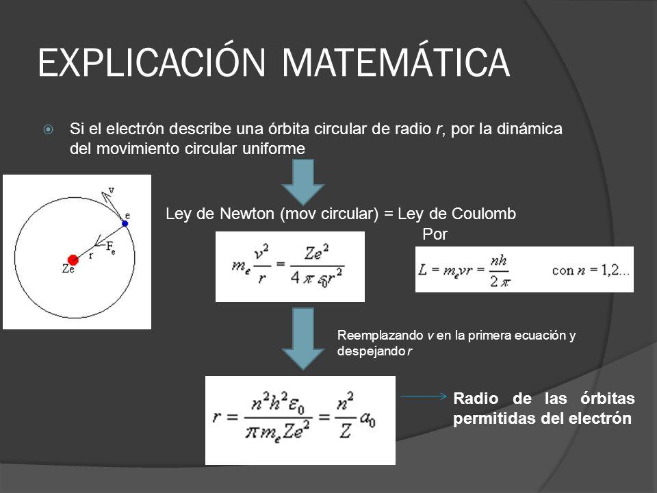EXPLICACIÓN MATEMÁTICA Si el electrón describe una órbita circular de radio r, por la dinámica del movimiento circular uniforme Por Reemplazando v en
