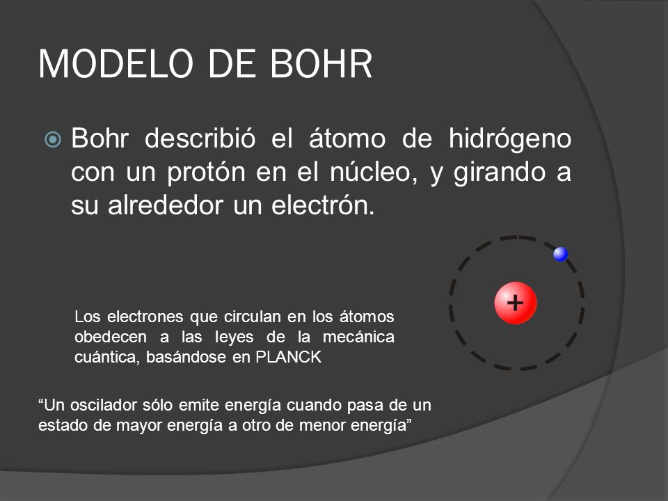 MODELO DE BOHR Bohr describió el átomo de hidrógeno con un protón en el núcleo, y girando a su alrededor un electrón. Los electrones que circulan en l