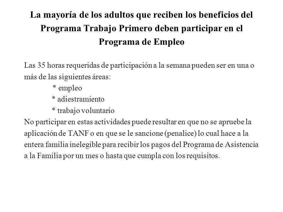 Si usted solicita para el Programa Trabajo Primero/ TANF El asistente social que procesará su solicitud necesitará verificar la siguiente información: