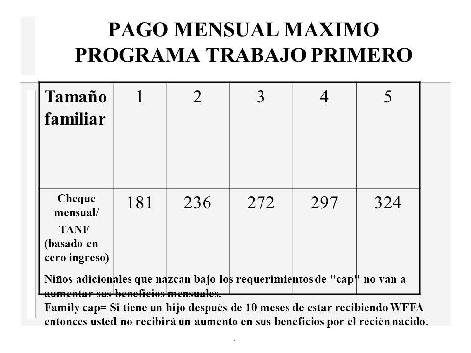 PAGO MENSUAL MAXIMO PROGRAMA TRABAJO PRIMERO Tamaño familiar 12345 Cheque mensual/ TANF (basado en cero ingreso) 181236272297324 Niños adicionales que nazcan bajo los requerimientos de cap no van a aumentar sus beneficios mensuales.