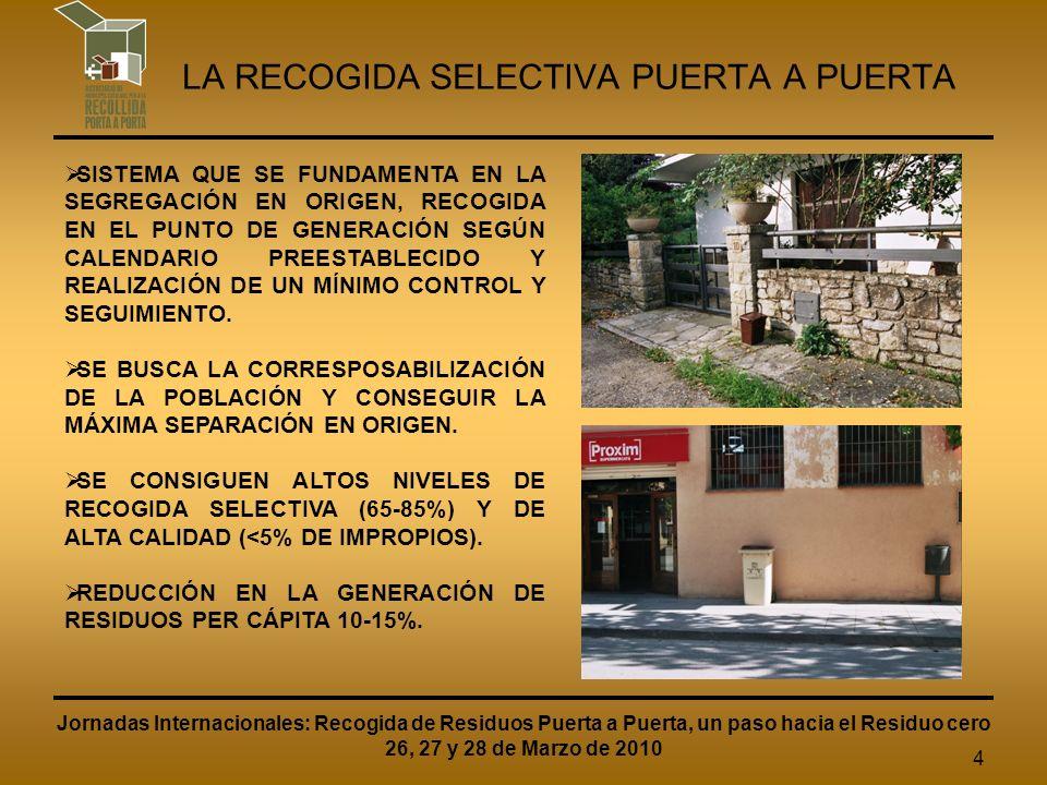 4 LA RECOGIDA SELECTIVA PUERTA A PUERTA SISTEMA QUE SE FUNDAMENTA EN LA SEGREGACIÓN EN ORIGEN, RECOGIDA EN EL PUNTO DE GENERACIÓN SEGÚN CALENDARIO PREESTABLECIDO Y REALIZACIÓN DE UN MÍNIMO CONTROL Y SEGUIMIENTO.