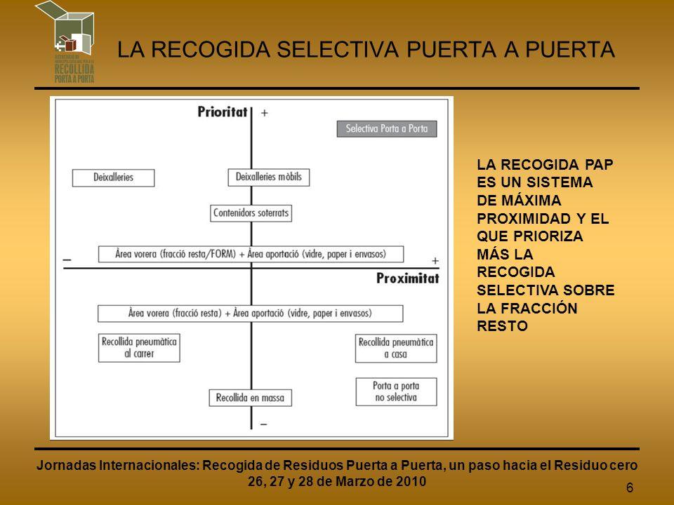 7 LA RECOGIDA SELECTIVA PUERTA A PUERTA PARA UNA BUENA IMPLANTACIÓN DEL PAP ES NECESARIO: IMPULSO Y CONVENCIMIENTO POLÍTICO DETALLAR MUY BIEN EL PLIEGO DE CONTRATACIÓN DEL SERVICIO IMPORTANTE CAMPAÑA DE INFORMACIÓN Y DE PARTICIPACIÓN CIUDADANA DESARROLLAR ORDENANZAS MUNICIPALES EN MATERIA DE RESIDUOS SEGUIMIENTO TÉCNICO Y COMUNICATIVO Jornadas Internacionales: Recogida de Residuos Puerta a Puerta, un paso hacia el Residuo cero 26, 27 y 28 de Marzo de 2010