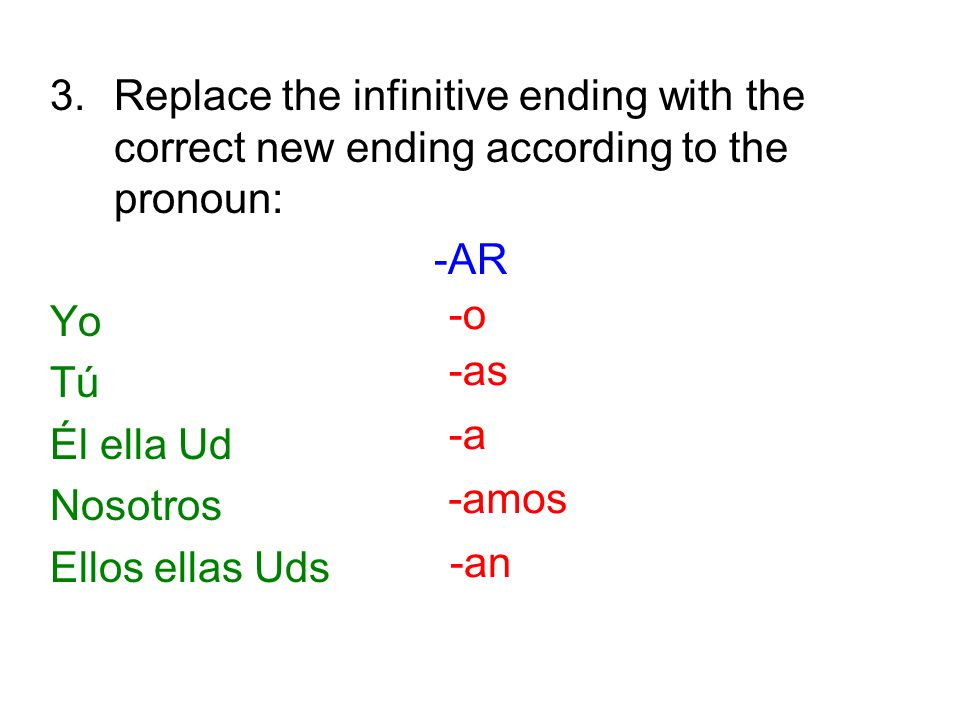3.Replace the infinitive ending with the correct new ending according to the pronoun: -AR Yo Tú Él ella Ud Nosotros Ellos ellas Uds -o -as -a -amos -a