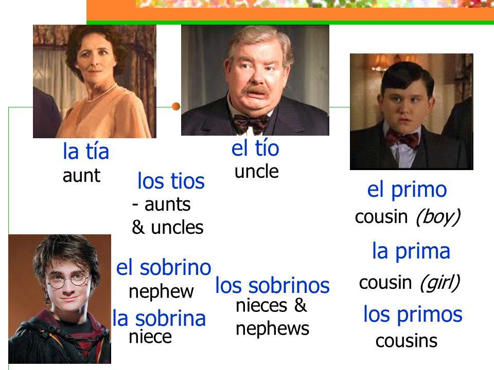 la tía aunt el tío uncle los tios - aunts & uncles el primo cousin (boy) la prima cousin (girl) los primos cousins el sobrino nephew la sobrina niece