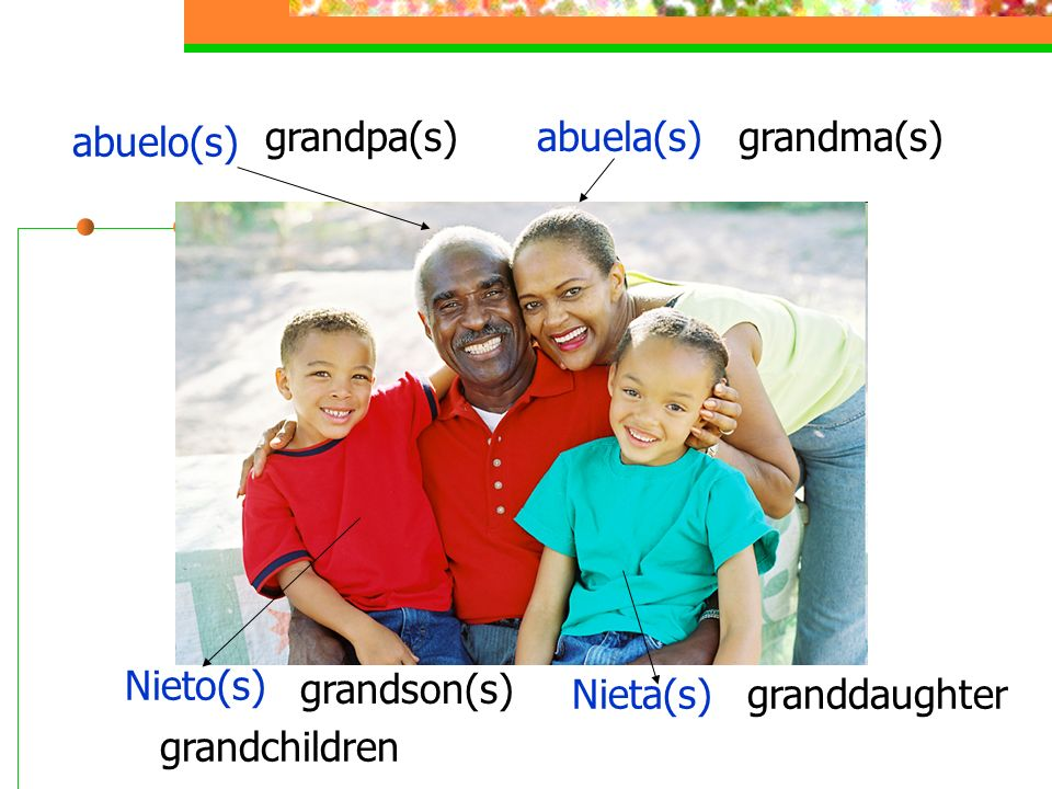 abuelo(s) grandpa(s)abuela(s)grandma(s) Nieto(s) grandson(s) Nieta(s)granddaughter grandchildren