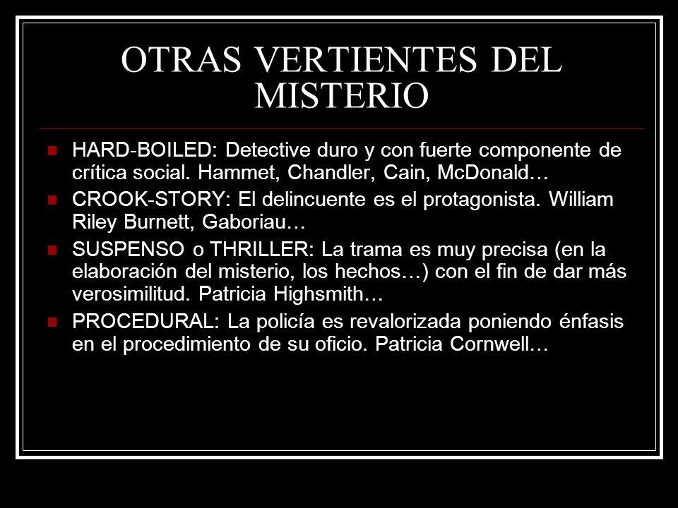 OTRAS VERTIENTES DEL MISTERIO HARD-BOILED: Detective duro y con fuerte componente de crítica social. Hammet, Chandler, Cain, McDonald… CROOK-STORY: El