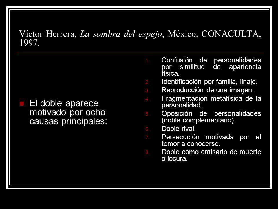 Víctor Herrera, La sombra del espejo, México, CONACULTA, 1997. El doble aparece motivado por ocho causas principales: 1. Confusión de personalidades p