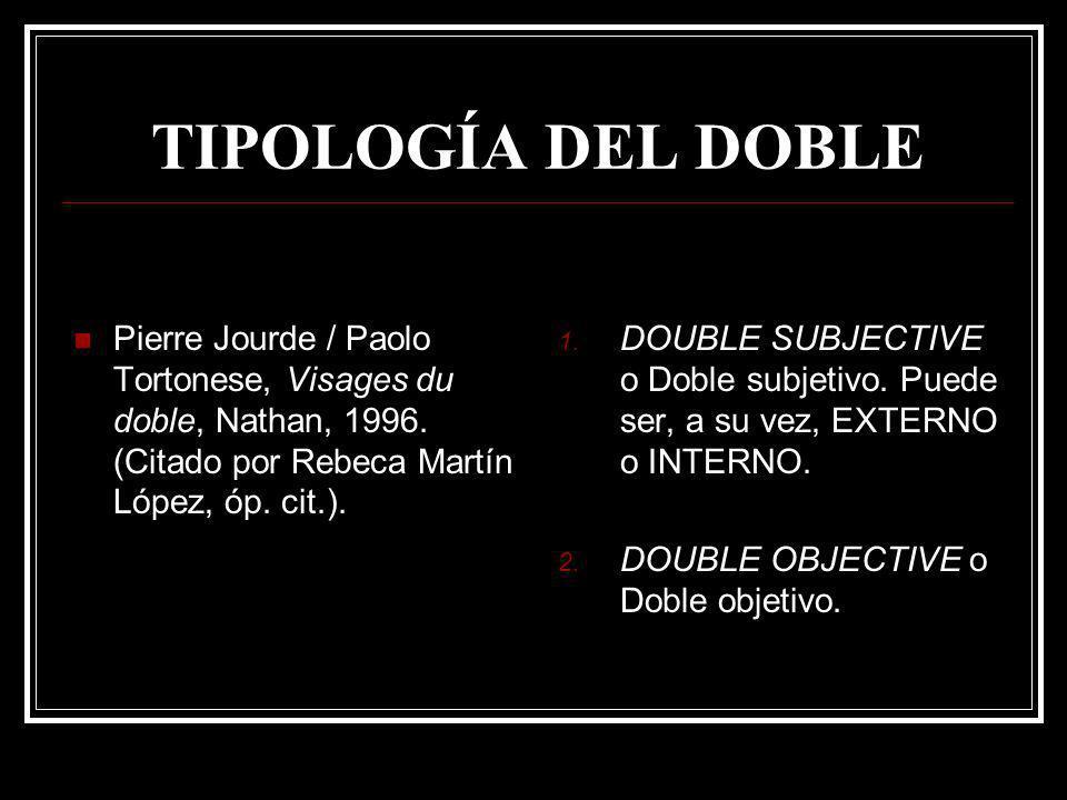 TIPOLOGÍA DEL DOBLE Pierre Jourde / Paolo Tortonese, Visages du doble, Nathan, 1996. (Citado por Rebeca Martín López, óp. cit.). 1. DOUBLE SUBJECTIVE